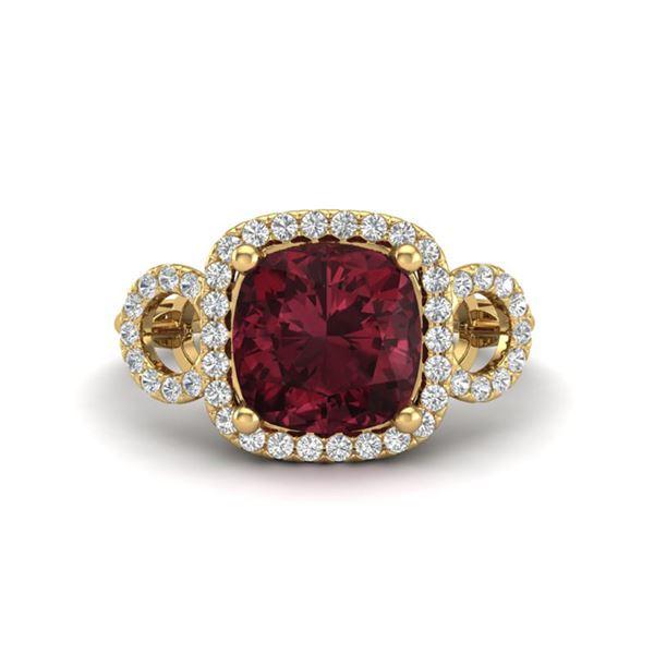 3.75 ctw Garnet & Micro VS/SI Diamond Certified Ring 18k Yellow Gold - REF-50G6W