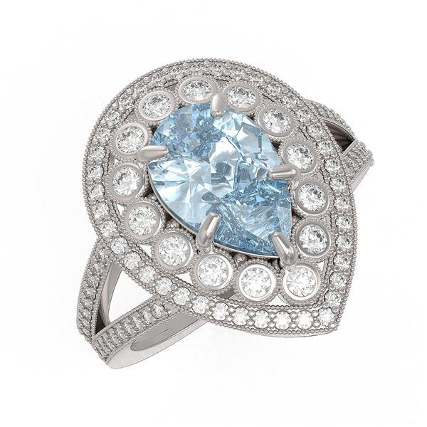 3.82 ctw Certified Aquamarine & Diamond Victorian Ring 14K White Gold - REF-168Y8X