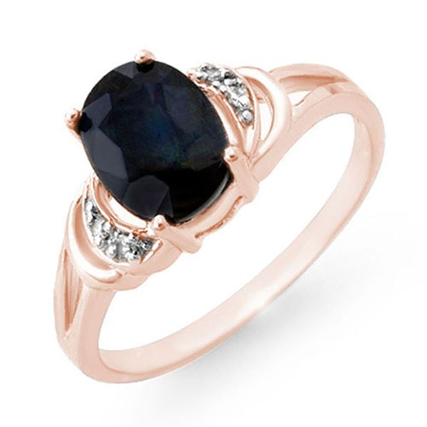 2.06 ctw Blue Sapphire & Diamond Ring 14k Rose Gold - REF-18X4A
