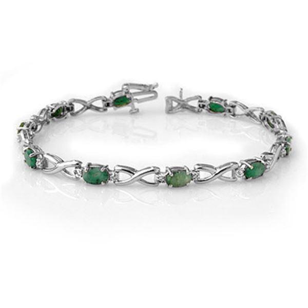 5.85 ctw Emerald & Diamond Bracelet 14k White Gold - REF-98X2A