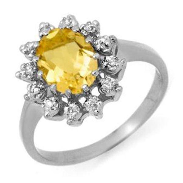 1.14 ctw Citrine & Diamond Ring 14k White Gold - REF-23H9R