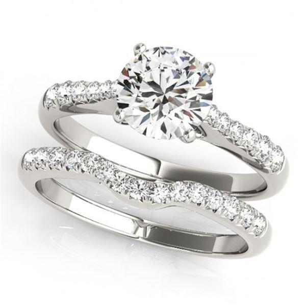 0.98 ctw Certified VS/SI Diamond 2pc Wedding Set 14k White Gold - REF-97R3K