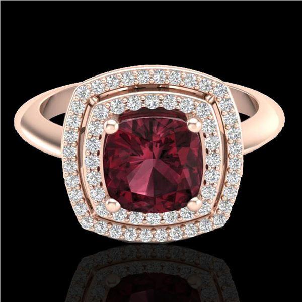 2.27 ctw Garnet & Micro VS/SI Diamond Pave Ring 14k Rose Gold - REF-42F8M