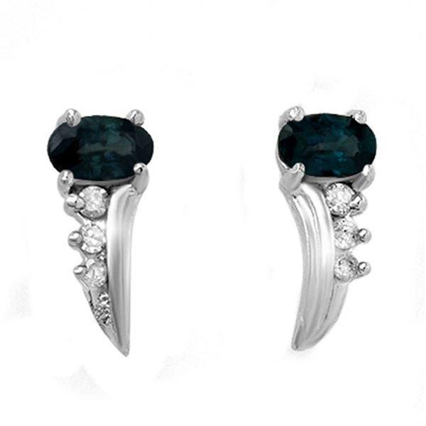 0.55 ctw Blue Sapphire & Diamond Earrings 10k White Gold - REF-12M3G