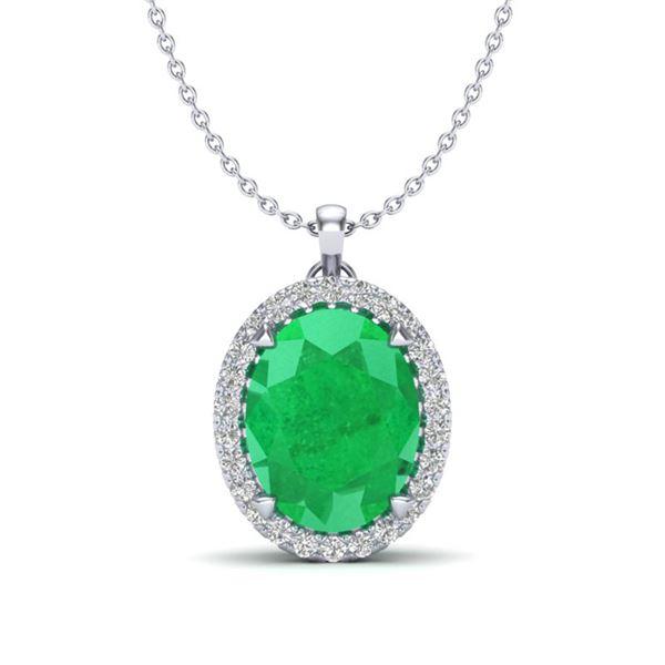 2.75 ctw Emerald & Micro VS/SI Diamond Halo Necklace 18k White Gold - REF-46W5H