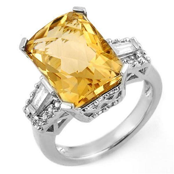 9.55 ctw Citrine & Diamond Ring 14k White Gold - REF-105Y5X