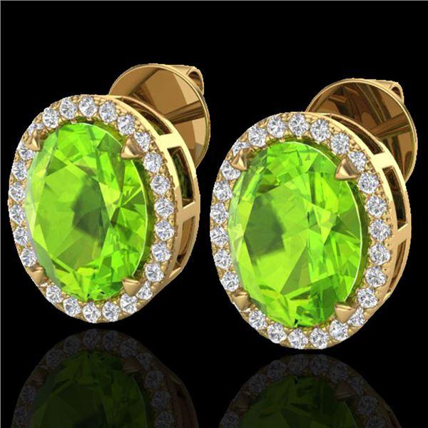 5.50 ctw Peridot & Micro VS/SI Diamond Halo Earrings 18k Yellow Gold - REF-56W2H