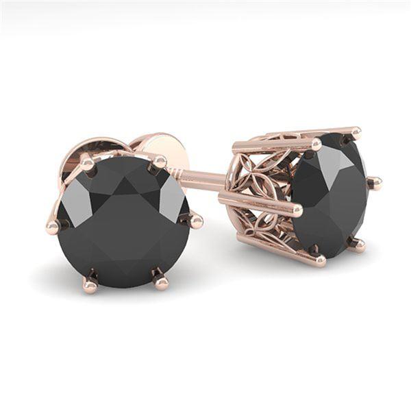 2.0 ctw Black Certified Diamond Stud Earrings 18k Rose Gold - REF-73M5G