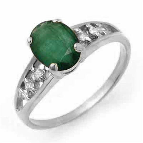 1.50 ctw Emerald & Diamond Ring 14k White Gold - REF-19G6W