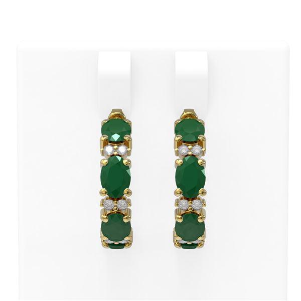 9.69 ctw Emerald & Diamond Earrings 18K Yellow Gold - REF-129A5N
