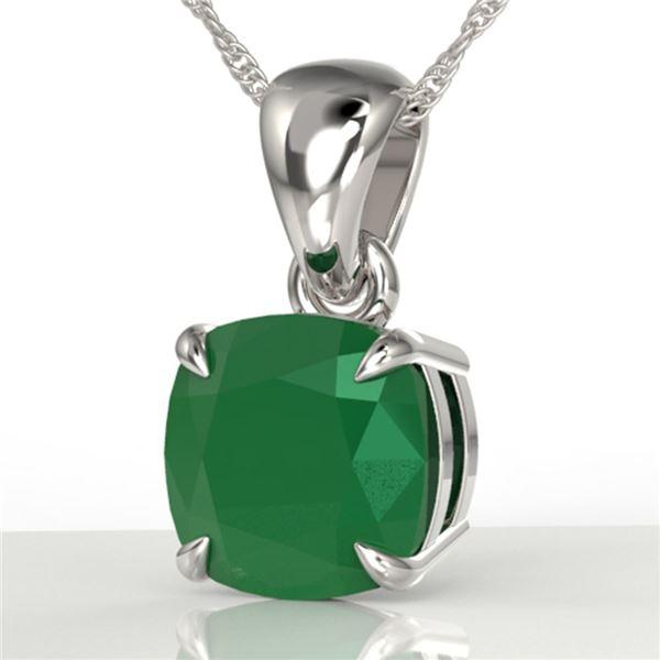 2 Cushion Cut ctw Emerald Designer Necklace 18k White Gold - REF-28H6R