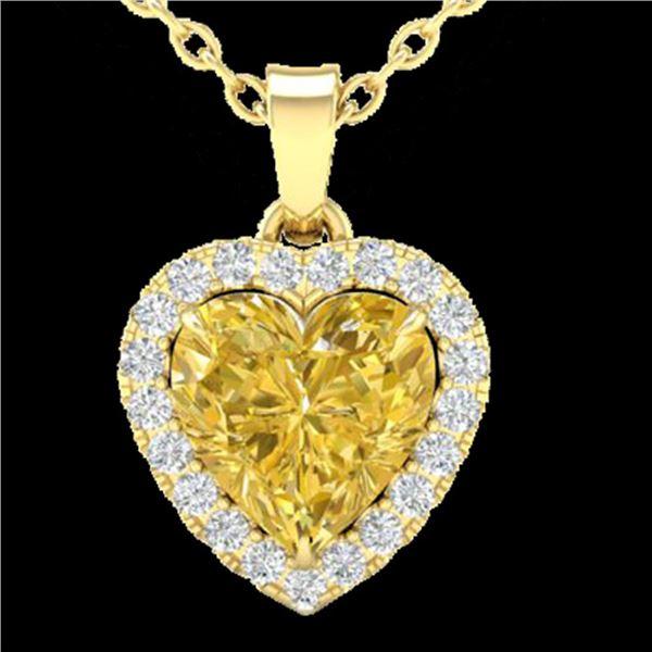 1 ctw Citrine & Micro Pave VS/SI Diamond Heart Necklace 14k Yellow Gold - REF-21X3A