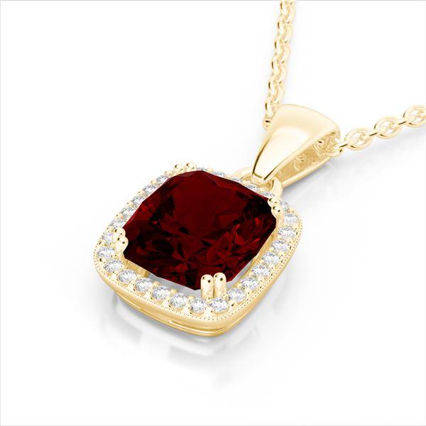 3 ctw Garnet & Micro VS/SI Diamond Pave Halo Necklace 18k Yellow Gold - REF-39W5H