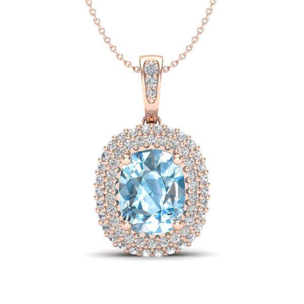 3 ctw Blue Topaz & Micro Pave VS/SI Diamond Necklace 10k Rose Gold - REF-50K8Y