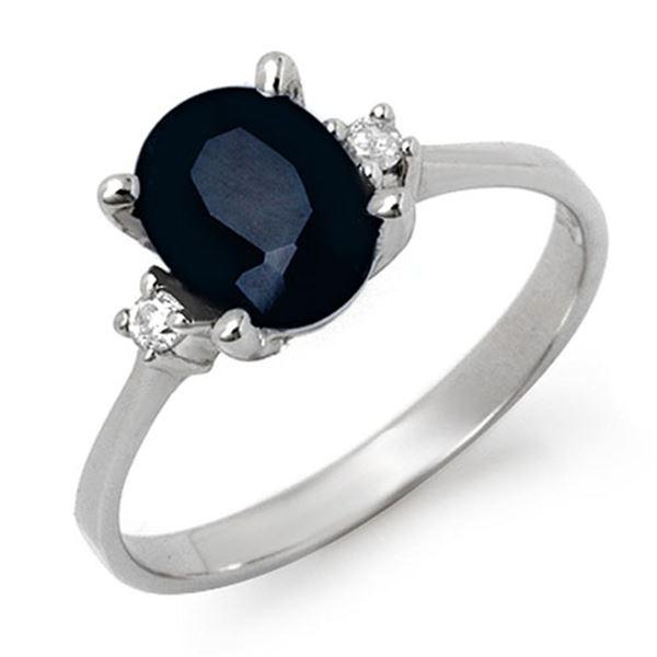 2.33 ctw Blue Sapphire & Diamond Ring 10k White Gold - REF-16N5F