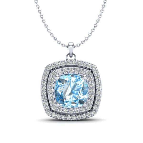 2.08 ctw Sky Blue Topaz & Micro Pave Diamond Necklace 18k White Gold - REF-51W4H