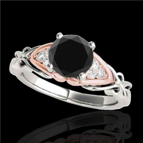 1.35 ctw Certified VS Black Diamond Solitaire Ring 10k 2Tone Gold - REF-41G2W