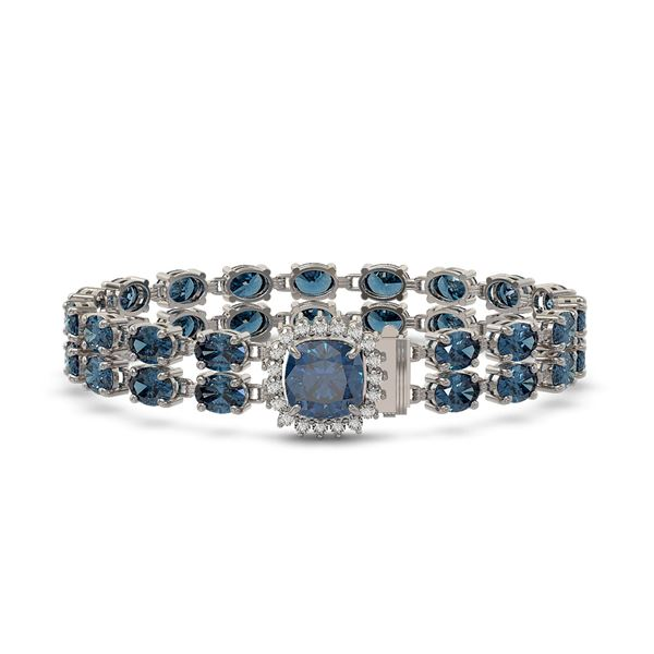 17.87 ctw London Topaz & Diamond Bracelet 14K White Gold - REF-178A2N