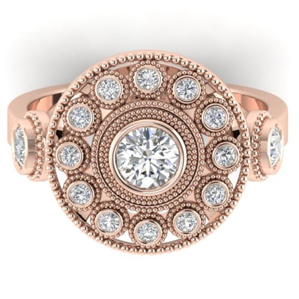0.85 ctw VS/SI Diamond Art Deco 3 Stone Ring 14k Rose Gold - REF-107W3H