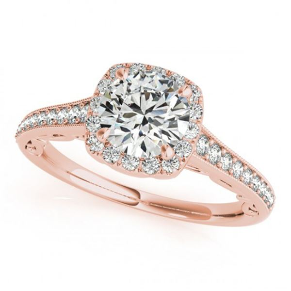 0.9 ctw Certified VS/SI Diamond Halo Ring 18k Rose Gold - REF-113H9R