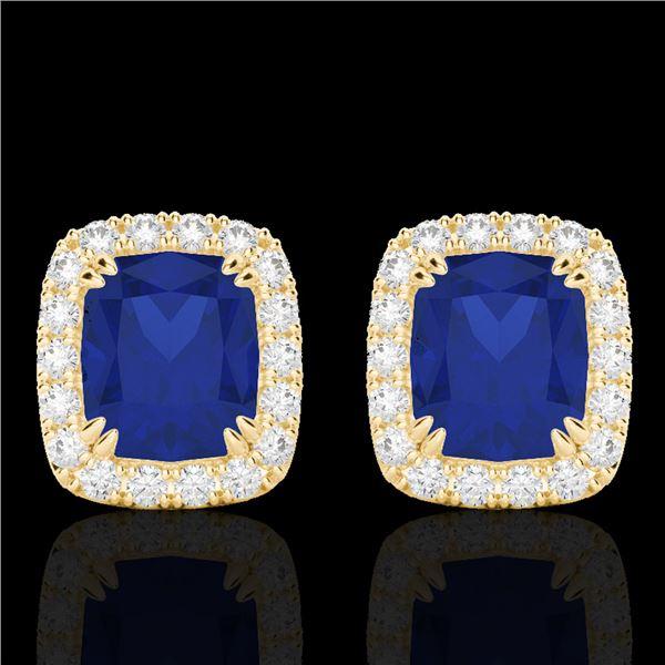 2.50 ctw Sapphire & Micro Pave VS/SI Diamond Earrings 10k Yellow Gold - REF-38X2A