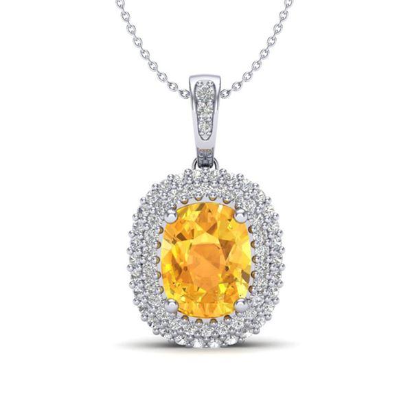 3 ctw Citrine & Micro Pave VS/SI Diamond Necklace 14k White Gold - REF-50F8M