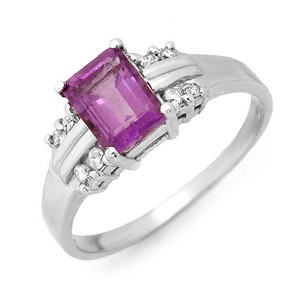 1.41 ctw Amethyst & Diamond Ring 10k White Gold - REF-16H2R
