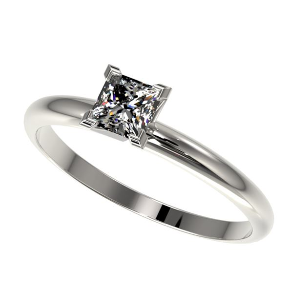 0.50 ctw Certified VS/SI Quality Princess Diamond Ring 10k White Gold - REF-60R3K