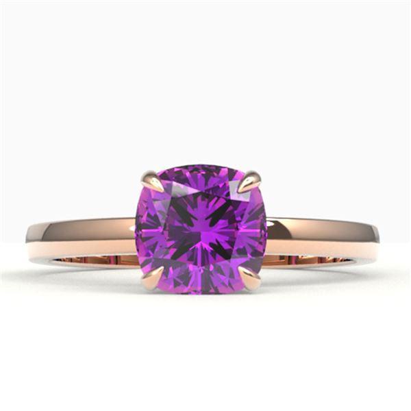 2 ctw Cushion Cut Amethyst Designer Engagment Ring 14k Rose Gold - REF-16M2G