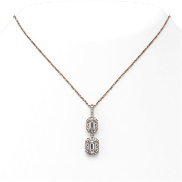 1.25 ctw Emerald Cut Diamond Designer Necklace 18K Rose Gold - REF-184M2G