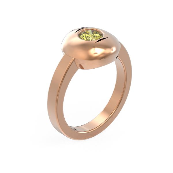 0.52 ctw Fancy Yellow Diamond Ring 18K Rose Gold - REF-124K9Y