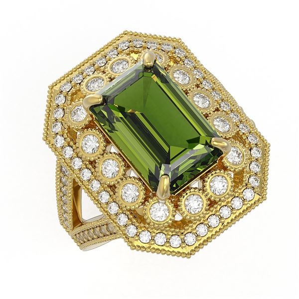6.08 ctw Certified Tourmaline & Diamond Victorian Ring 14K Yellow Gold - REF-208H8R