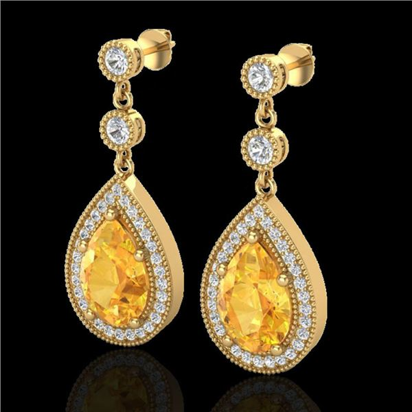 4.50 ctw Citrine & Micro VS/SI Diamond Earrings Designer 18k Yellow Gold - REF-52N3F