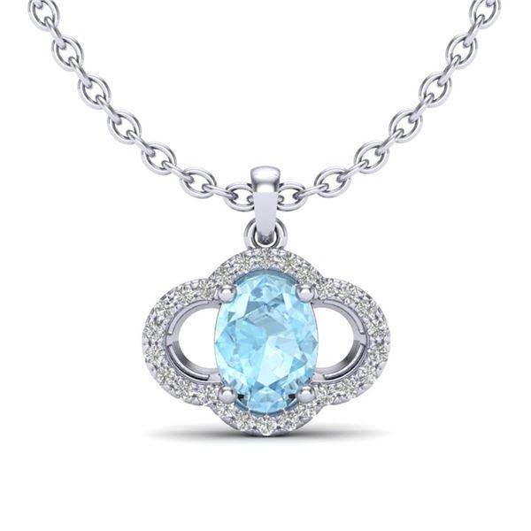 2 ctw Aquamarine & Micro Pave VS/SI Diamond Necklace 10k White Gold - REF-31G4W
