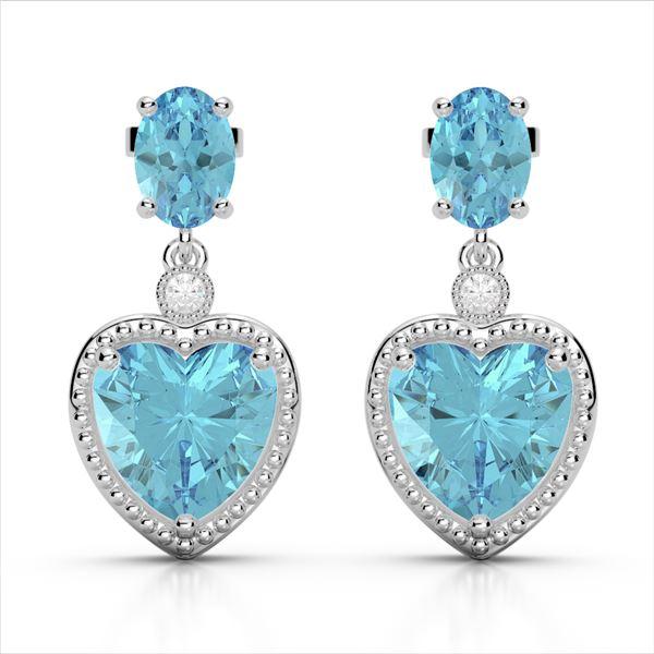 8 ctw Sky Blue Topaz & VS/SI Diamond Designer Heart Earrings 10k White Gold - REF-32F8M