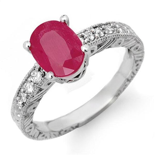3.28 ctw Ruby & Diamond Ring 14k White Gold - REF-38R5K