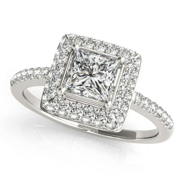 0.85 ctw Certified VS/SI Princess Diamond Halo Ring 18k White Gold - REF-102A3N