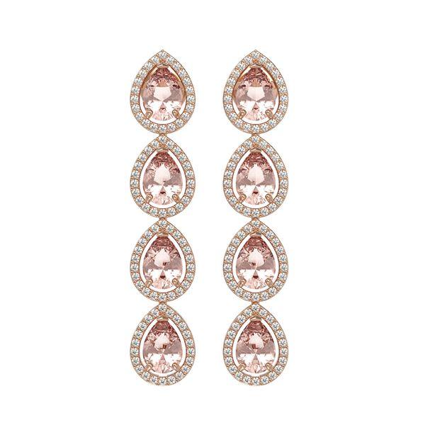 7.8 ctw Morganite & Diamond Micro Pave Halo Earrings 10k Rose Gold - REF-189W6H