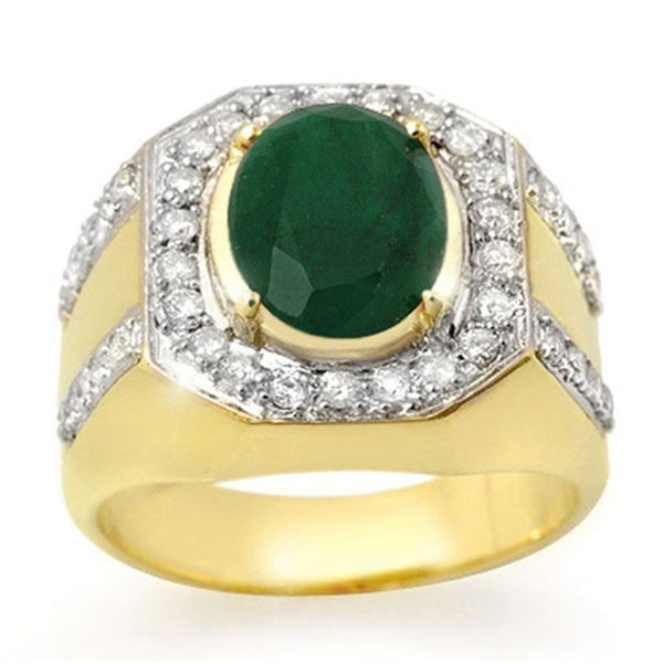 5.25 ctw Emerald & Diamond Men's Ring 10k Yellow Gold - REF-123F6M