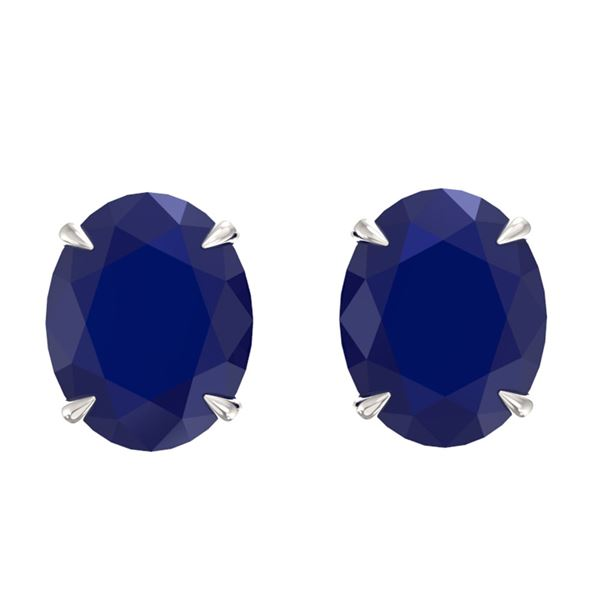 7 ctw Sapphire Designer Stud Earrings 18k White Gold - REF-41W9H