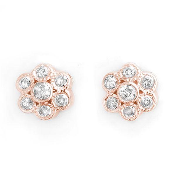 0.50 ctw Certified VS/SI Diamond Earrings 14k Rose Gold - REF-30W8H
