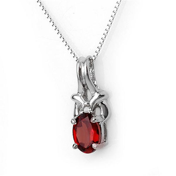 1.0 ctw Garnet & Diamond Necklace 10k White Gold - REF-11N8F
