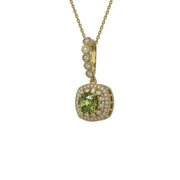 2.25 ctw Tourmaline & Diamond Victorian Necklace 14K Yellow Gold - REF-81G3W