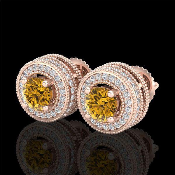 2.09 ctw Intense Fancy Yellow Diamond Art Deco Earrings 18k Rose Gold - REF-354R5K