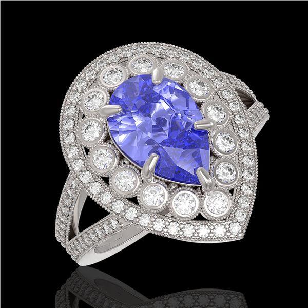 4.52 ctw Certified Tanzanite & Diamond Victorian Ring 14K White Gold - REF-245X5A