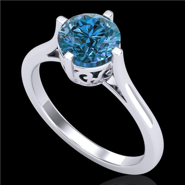1.25 ctw Fancy Intense Blue Diamond Art Deco Ring 18k White Gold - REF-218N2F
