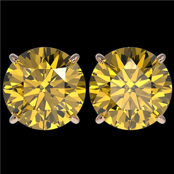 5 ctw Certified Intense Yellow Diamond Stud Earrings 10k Rose Gold - REF-810F2M