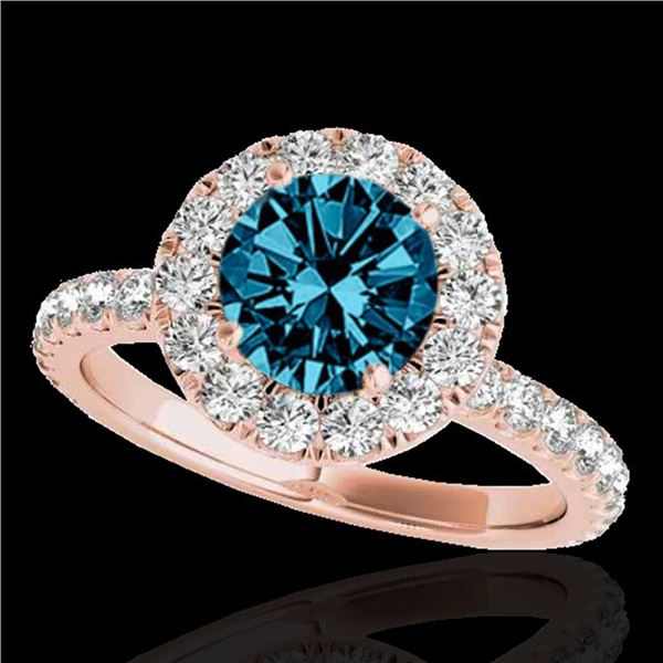 2 ctw SI Certified Fancy Blue Diamond Solitaire Halo Ring 10k Rose Gold - REF-170G5W