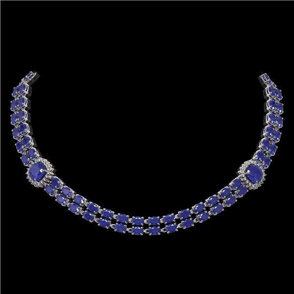 43.97 ctw Sapphire & Diamond Necklace 14K White Gold - REF-527N3F