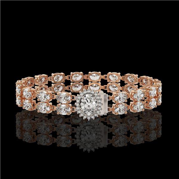 13.54 ctw Oval Diamond Bracelet 18K Rose Gold - REF-1529F6M